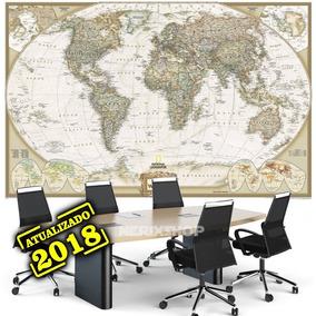 Mapa Do Mundo Extra Grande 65x100cm Para Decorar Parede Sala