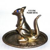 Figura Metal Plaqué Porta-anillos Forma Canguro, Años 70 Ok.