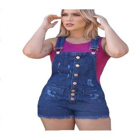 Macacão Jeans Feminino Com Botoes Macaquinho Shorts Curto