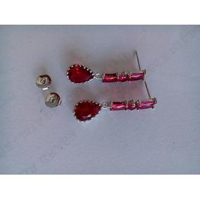 Brincos Prata 925 E Turmalinas Rosa