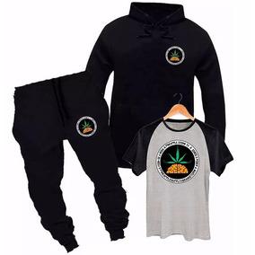 Kit Blusa De Moletom ,calça E Camisa Raglan Pineapple Rap