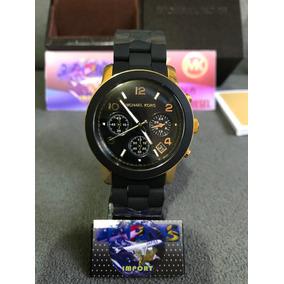 ad866140481 Relogio Michael Kors Mk5191 Preto Emborrachado Com Dourado ...