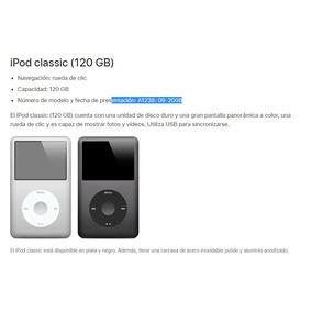 Ipod Classic 120gb Modelo A1238 Usado