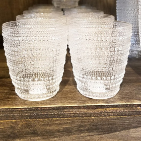 Juego De 6 Vasos De Vidrio Labrado Puntitos Color Cristal