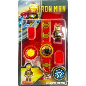 Relógio Digital Infantil Homem De Ferro + Boneco Lego