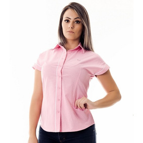Camisa Poá Rosa Manga Curta Ayla - Pimenta Rosada 1a65697e79c22