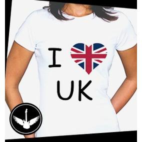 Camiseta blusa Feminina Bandeira Inglaterra - Camisetas Manga Curta ... 7d78644447fda