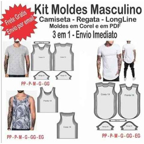 Kit Moldes Modelagem Masculino Camiseta- Regata- Longline