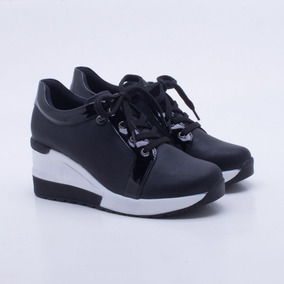 95f57fb624d Tenis Feminino Sneaker Quiz Salto Alto 68-37913 Preto Branco