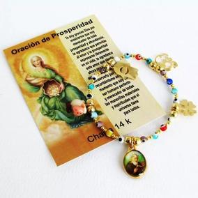 Pulsera Dorada Con Oracion De Prosperidad Chapa Oro14k