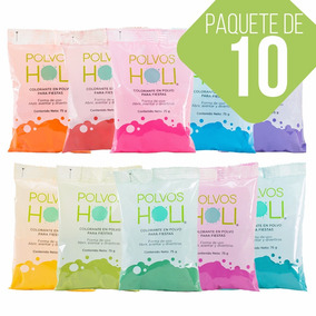 Polvos Holi Original 75gr Fiestas Eventos Paquete De 10