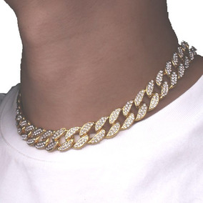 Cadena Choker Diamantada Gargantilla Oro Laminado Cubana