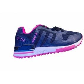 low priced 813b8 e11d4 Tenis Promoción adidas Zx750 Azul Con Rosa Para Niña