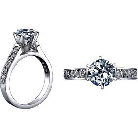 Exclusivo Anillo De Compromiso Diamante Cultivado Plata .925