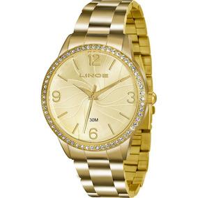 Relógio Lince Feminino Dourado Com Predras Lrgj049l C2kx