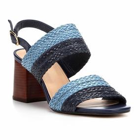 Sandália Shoestock Salto Grosso Mix Tressê Feminina