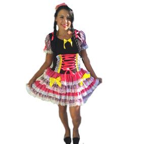 Vestido Festa Junina Caipira Colorido Adulto- Promoção