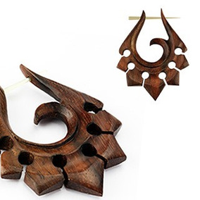 Brinco Tribal Madeira Boho Feito A Mão Exclusivo Tribalwood