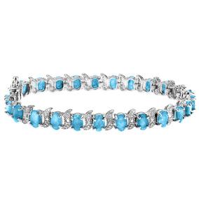 Brazalete Plata Esterlina C/topacio Azul Y Diamantes 12.0 Ct