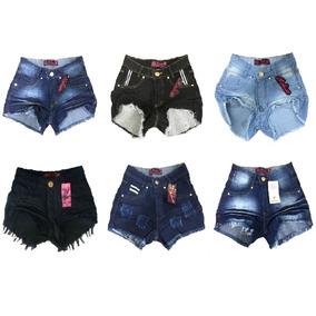 Kit 5 Shorts Jeans Feminino Atacado Cós Alto Hot Pant Lycra
