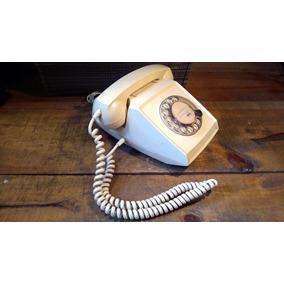 Teléfono Antiguo De Disco Blanco Crema
