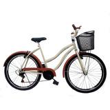 Bicicleta Retro Aro 26 Feminina Beach C/ 6 Marcha C/ Cesta