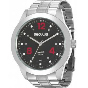 Relógio Seculus Masculino Prata E Preto Barato 28886g0svna1
