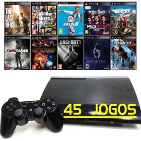 Ps3 + 45 Jogos + Playstation 3 Super Slim + Gta5 + Fifa 19