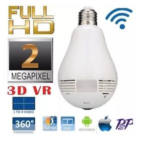 Câmera Ip Lampada 2mp 1080p Espiã Panorâmica Wireles Wifi Sd