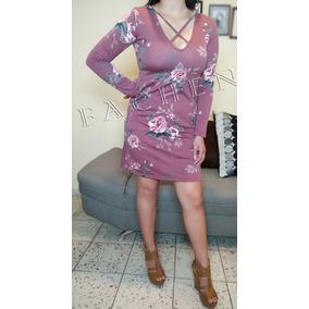 Vestido Linea A Flores Rosa Palo