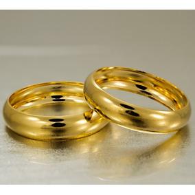Alianças Noivado Ouro 18k 3,20gr 4,40mm Casamento Lisa Par