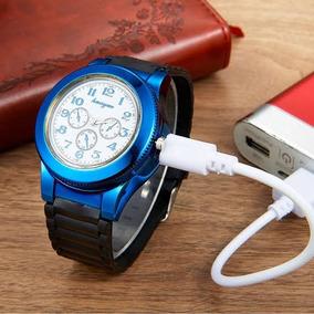 Reloj Encendedor 2 En 1 Azul Recargable 1 Resistencia Gratis