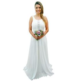 8e6495e26a Vestido Branco Renda Longo Simples - Vestidos Longos Femininas no ...