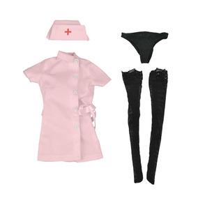 c860ab598845b 1 6 Rosa Enfermera Uniforme Sombrero Vestido De Medias Escri