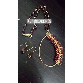 Conjunto Collar De Cristales Engarzado Y Aretes Cristal E.g