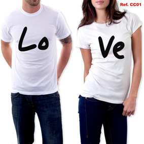 Kit Camiseta + Baby Look Love Casal Dia Dos Namorados