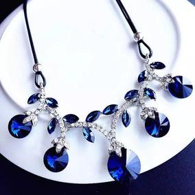 Collar Gota Azul De Cristal Mujer