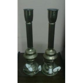 2 Veladores Antiguos De Bronce (caba Entrega Sin Cargo)