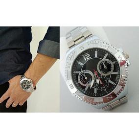 Relógio De Marca Masculino Analógico Pulseira Couro Luxo Aço