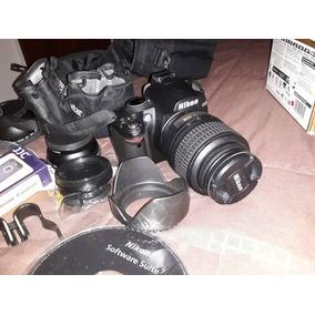 Cámara Profesional Nikon D3000 Con Accesorios
