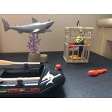 Playmobil Tubarão Com Mergulhador E Bote Raridade Gaiola Mar