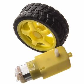 Roda + Pneu + Motor Dc 3 A 6v Com Reducao Robotica Arduino