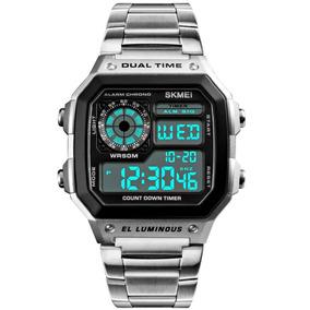 Relógio Masculino Prata Aço Calendário Digital Led Alarme
