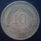Chile Moneda De 10 Centesimos Año 1966