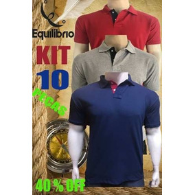 029a7e819e Kit 10 Camisa Polo - Pólos Manga Curta Masculinas no Mercado Livre ...