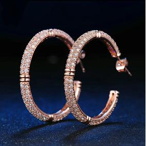 227e058f6c0e Aretes En Oro Rosa 18 K Con Cristales Corte Diamante Mamá!