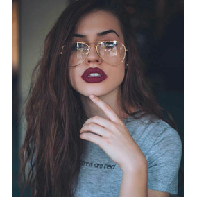 1ae35468908c2 Óculos Falso De Lente Transparente Sem Grau Tipo De Sol Moda