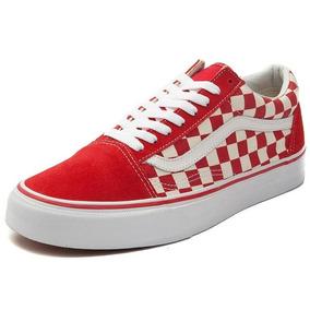Tenis Vans Old Skool Checkerboard Rojo Beige Niños Gamuza