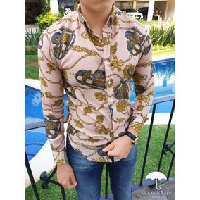 Camisa Slim Fit Crema Figuras Gris, Dorado Moon & Rain Tp