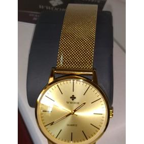 Reloj Wwoor P/hombre-elegante-casual-impermeable-oro-moderno